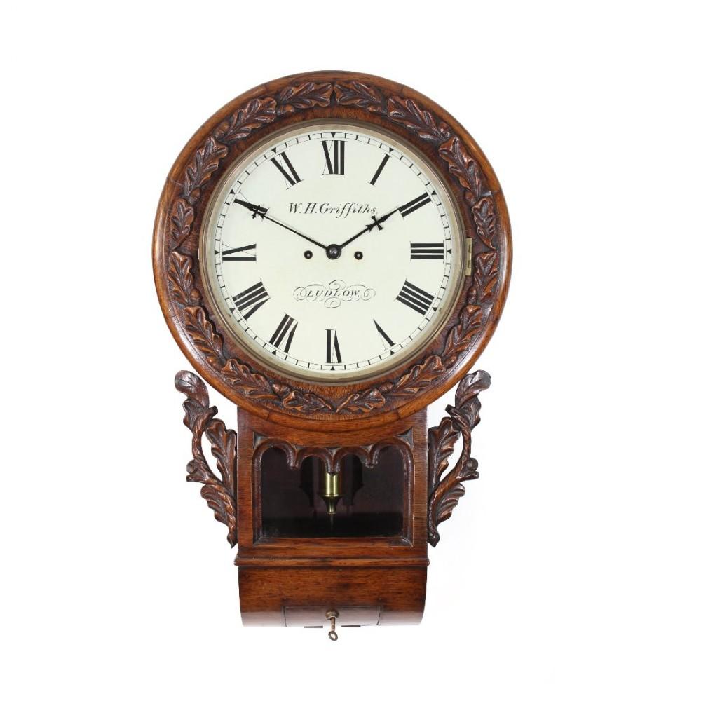 Oak Striking English Drop Dial Wall Clock 438797