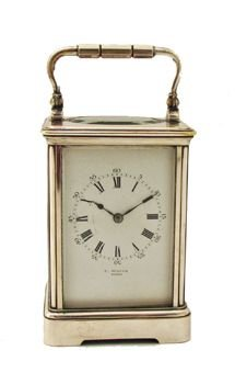 silver plated drocourt carriage clock timepiece