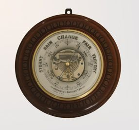 unusual ceramic and walnut barometer dated 1890