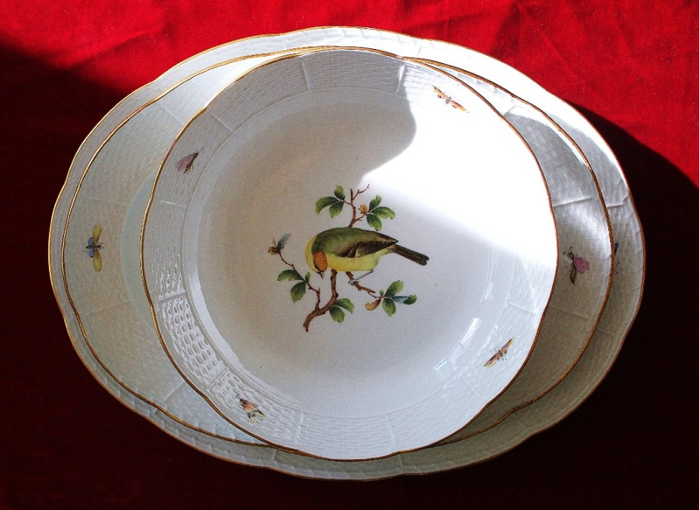 meissen porcelain large serving dish and two large serving plates