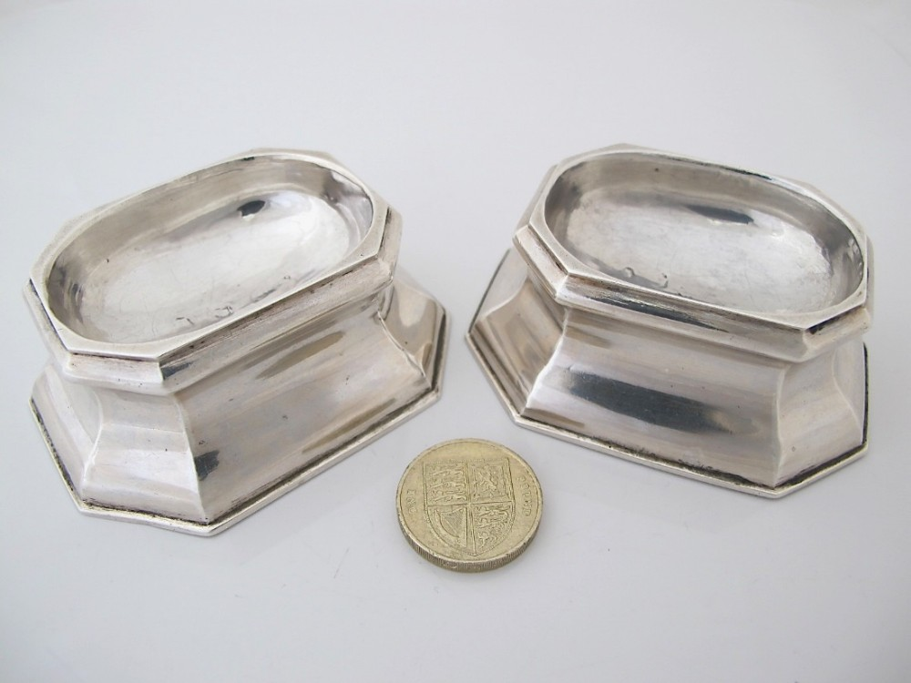 rare pair silver george ii silver trencher salts is london 1736