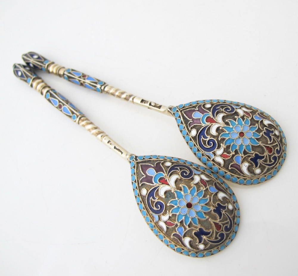 Beautiful Pair Of Imperial Russian Silver Gilt And Enamel