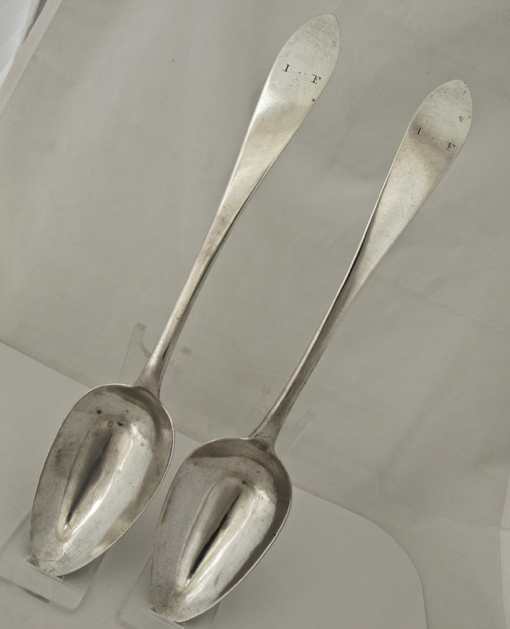 rare pair irish of provincial serving spoons isaac solomon cork c1800