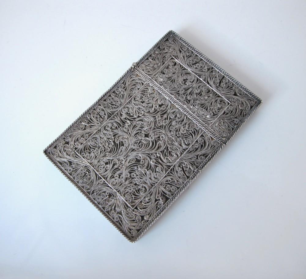 fine continental silver filigree card case c 1890