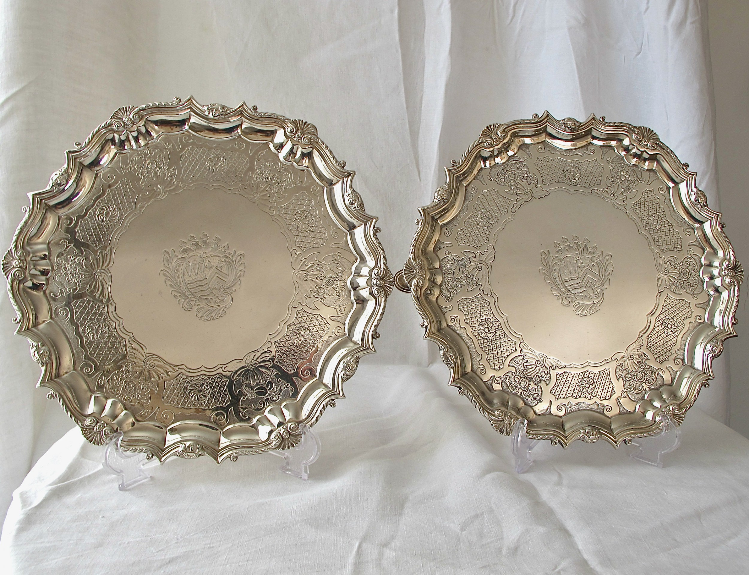 magnificent matched pair of heavy georgian silver slavers gabriel sleath and joseph angel i london 1735 and 1820