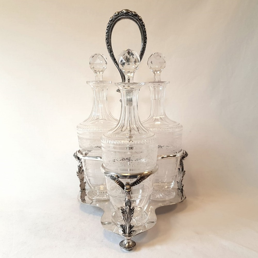 early victorian crystal decanter tantalus thomas wilkinson