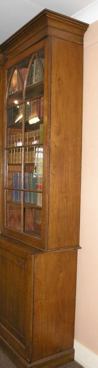 impressive georgian oak breakfront bookcase - photo angle #4