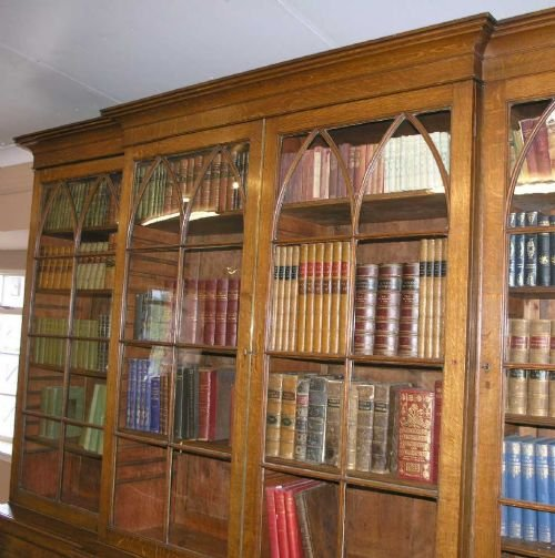 impressive georgian oak breakfront bookcase - photo angle #5