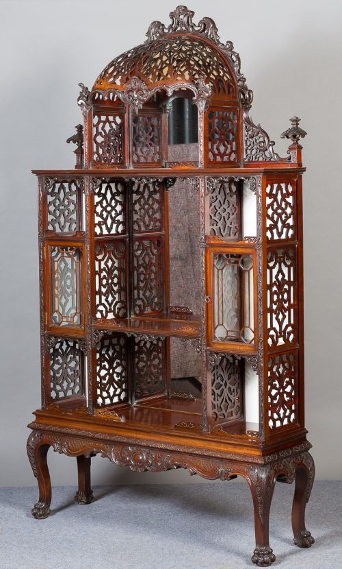 late 19th cent chinese chippendale china cabinet 364522