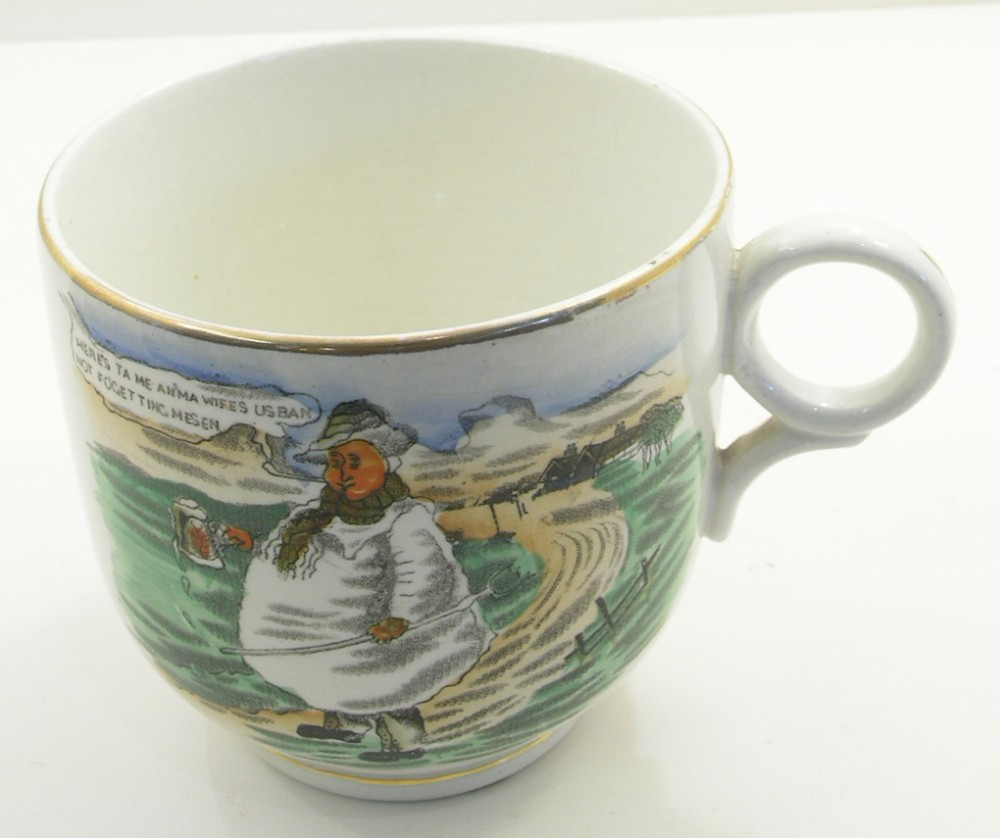 large unusual shape sunderland creamware mug