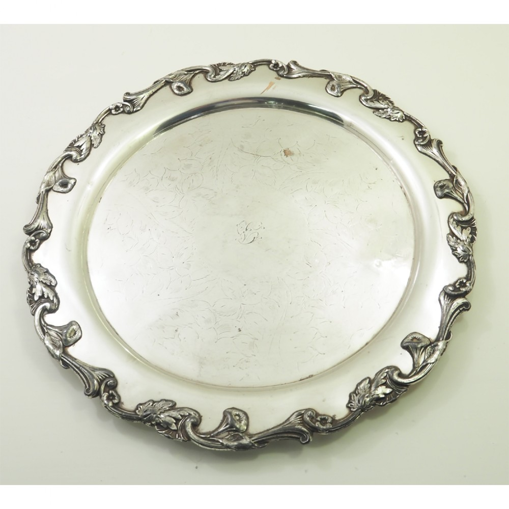 arts crafts silver plated tray nice design