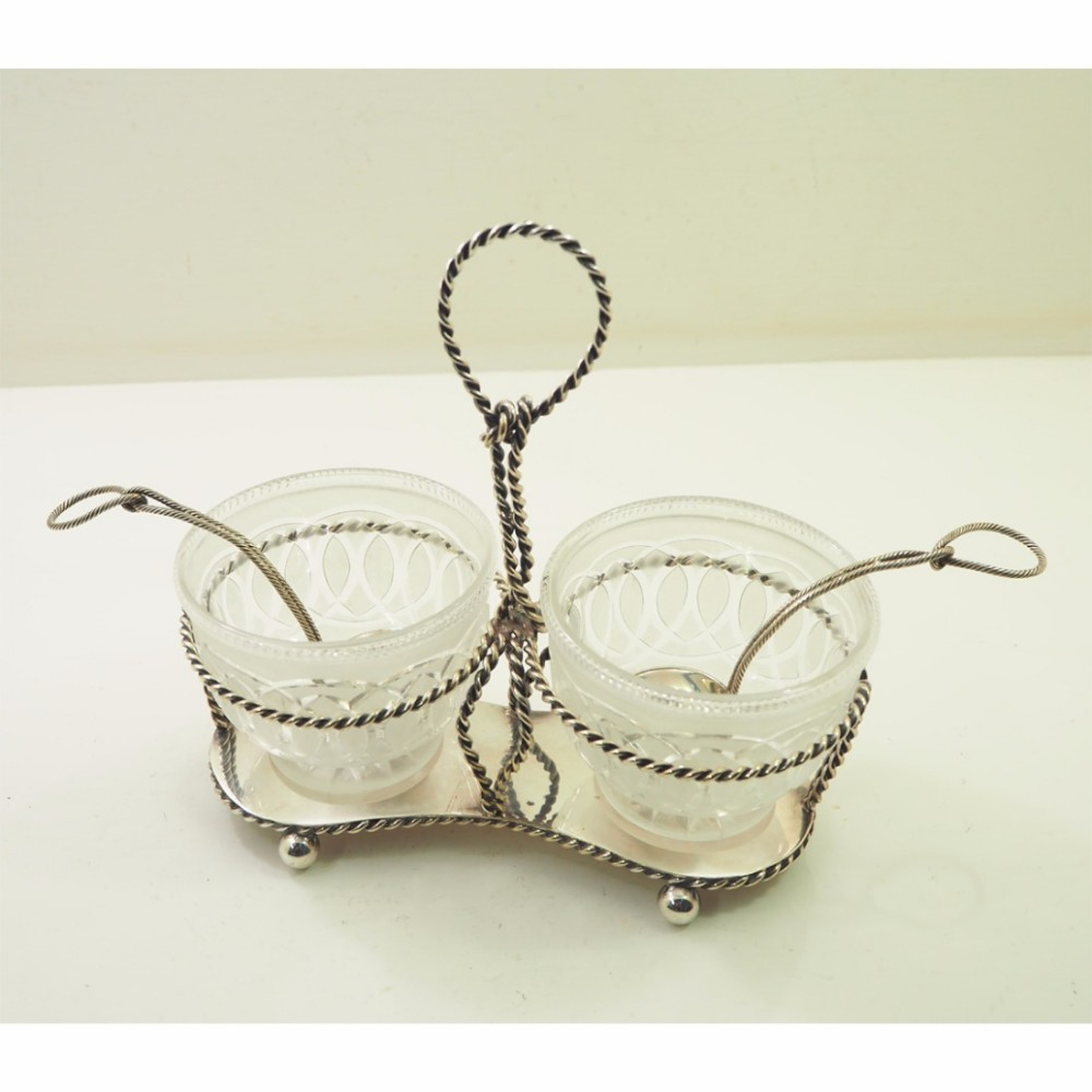 victorian silver plated cruet set complete