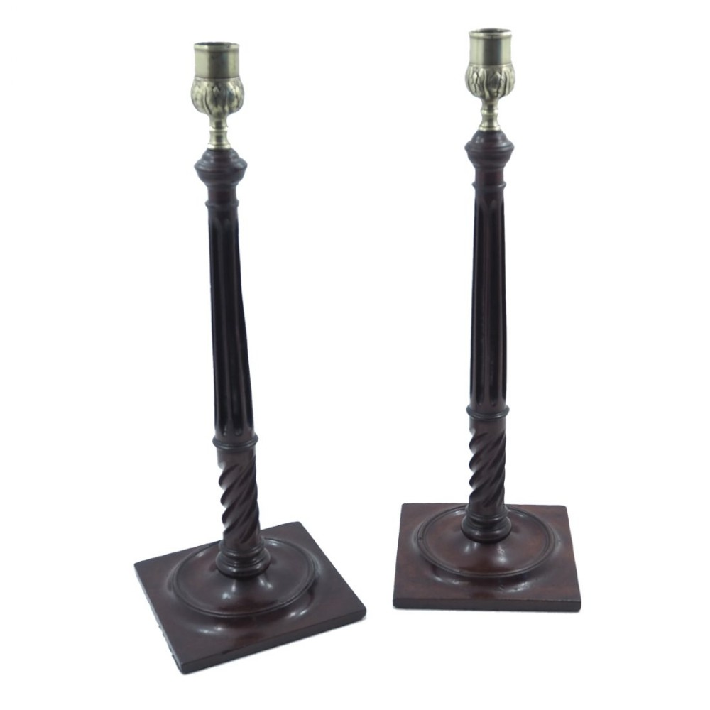 pair george iii mahogany brass candlesticks