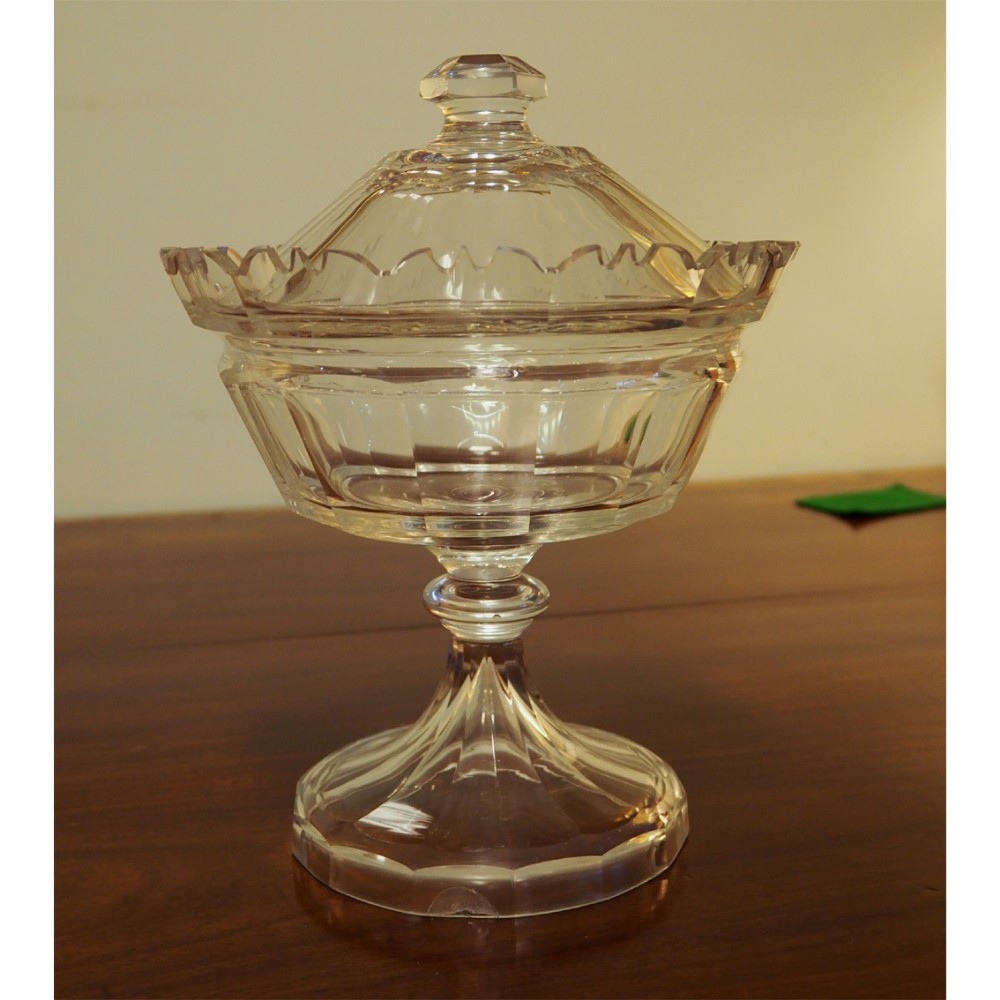 mid 19th century cut glass sweetmeat dish