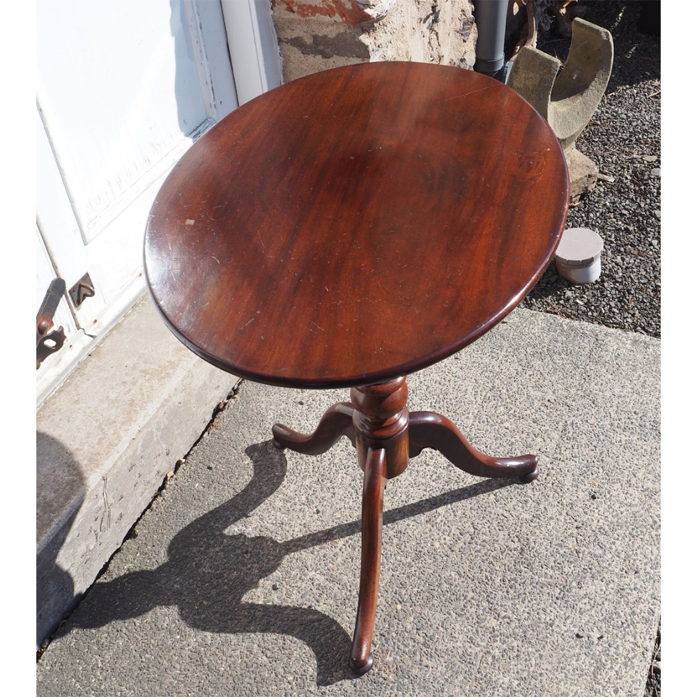 19th century mahogany oval tripod table
