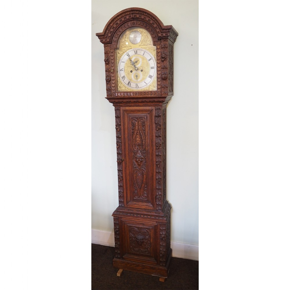 scottish carved oak grandfather clock