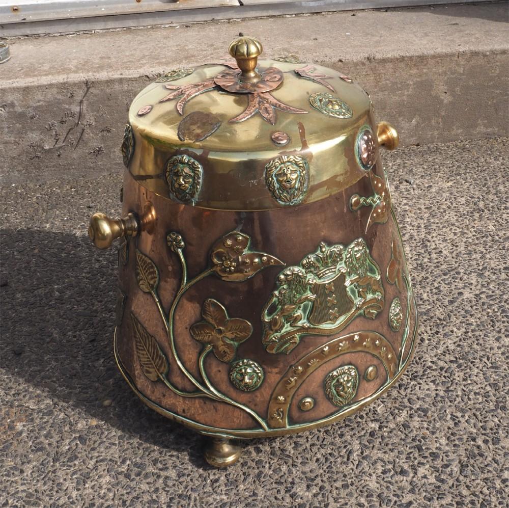 19th century dutch copper brass coal bin