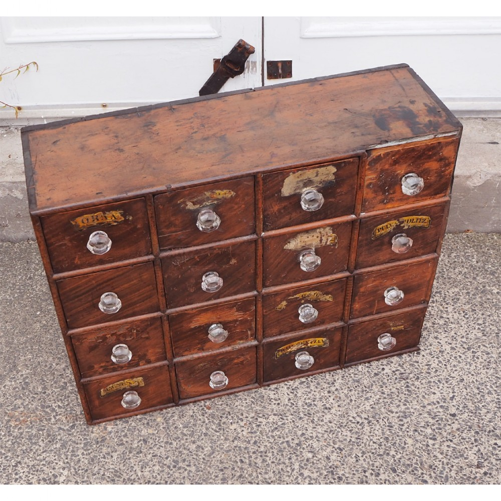 early victorian bank of chemists drawers