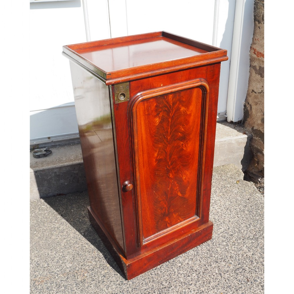 victorian flame mahogany bedside cabinet