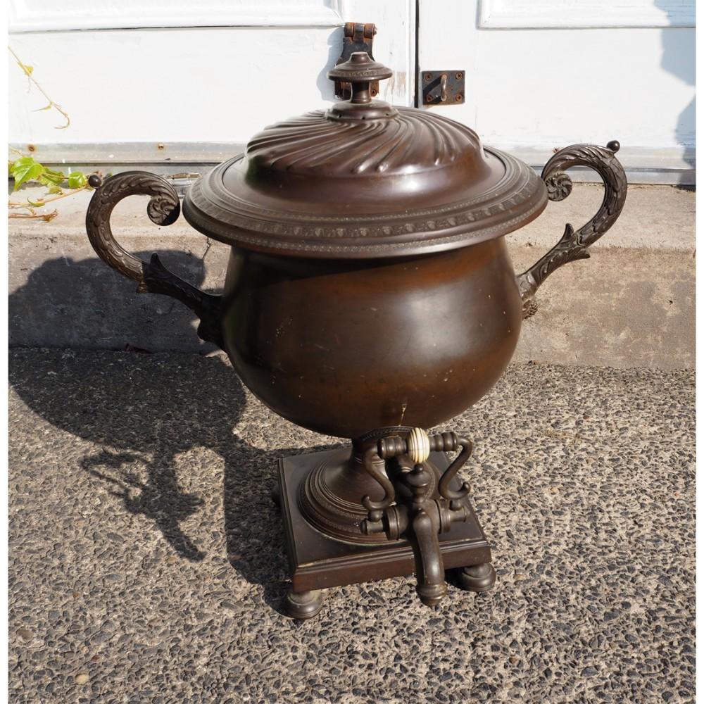 large victorian bronzed tea urn or samovar