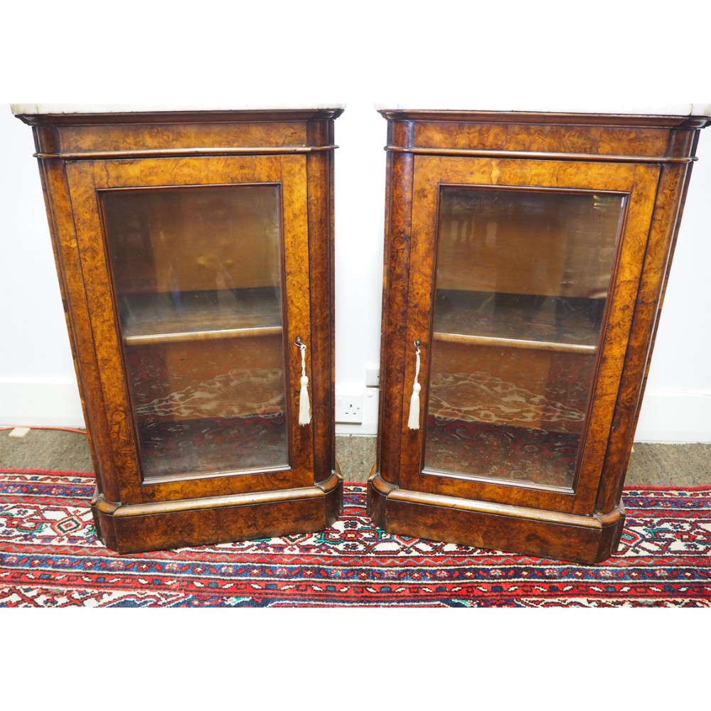 good pair of victorian burr walnut cabinets
