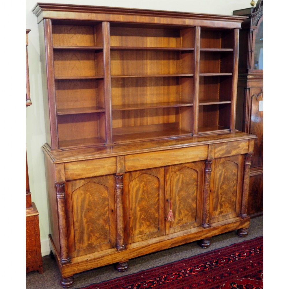 late regency flame mahogany open bookcase