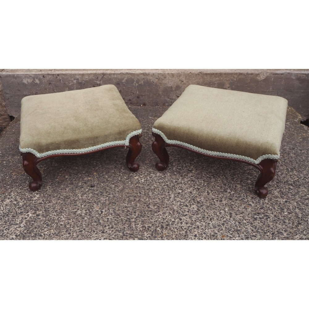 fine pair of victorian walnut foot stools