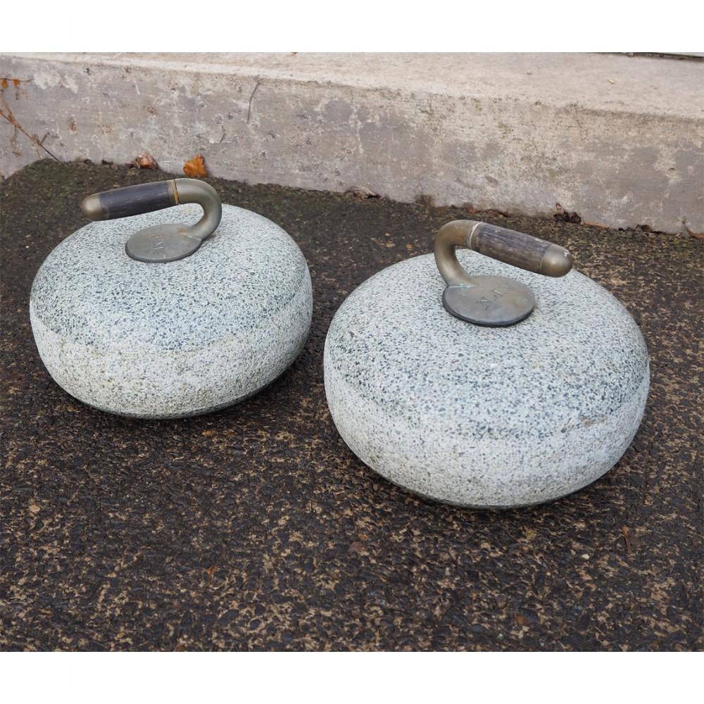 large pair of scottish granite curling stones
