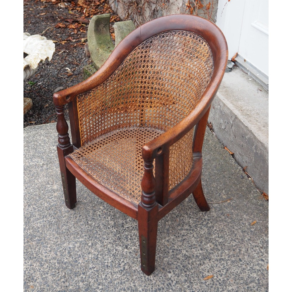 victorian mahogany and cane childs chair