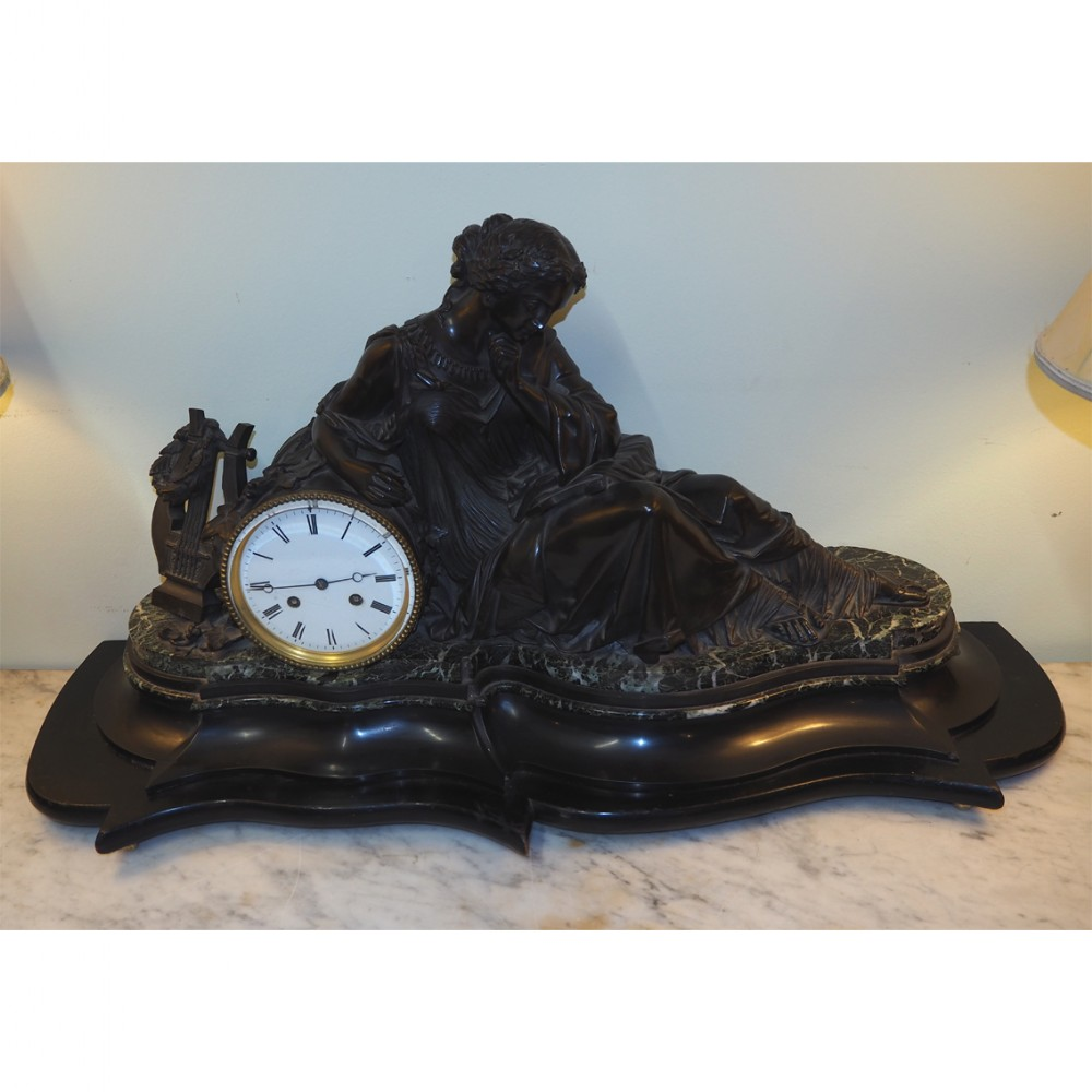 huge french bronze marble 8 day clock