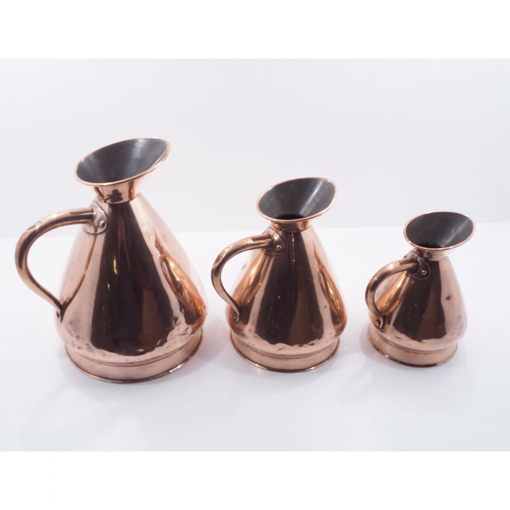 set of 3 large victorian copper measures