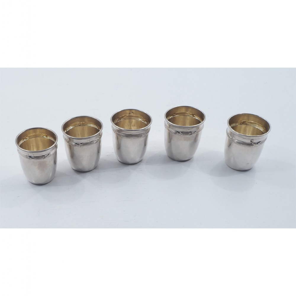 set 5 french silver small spirit tots