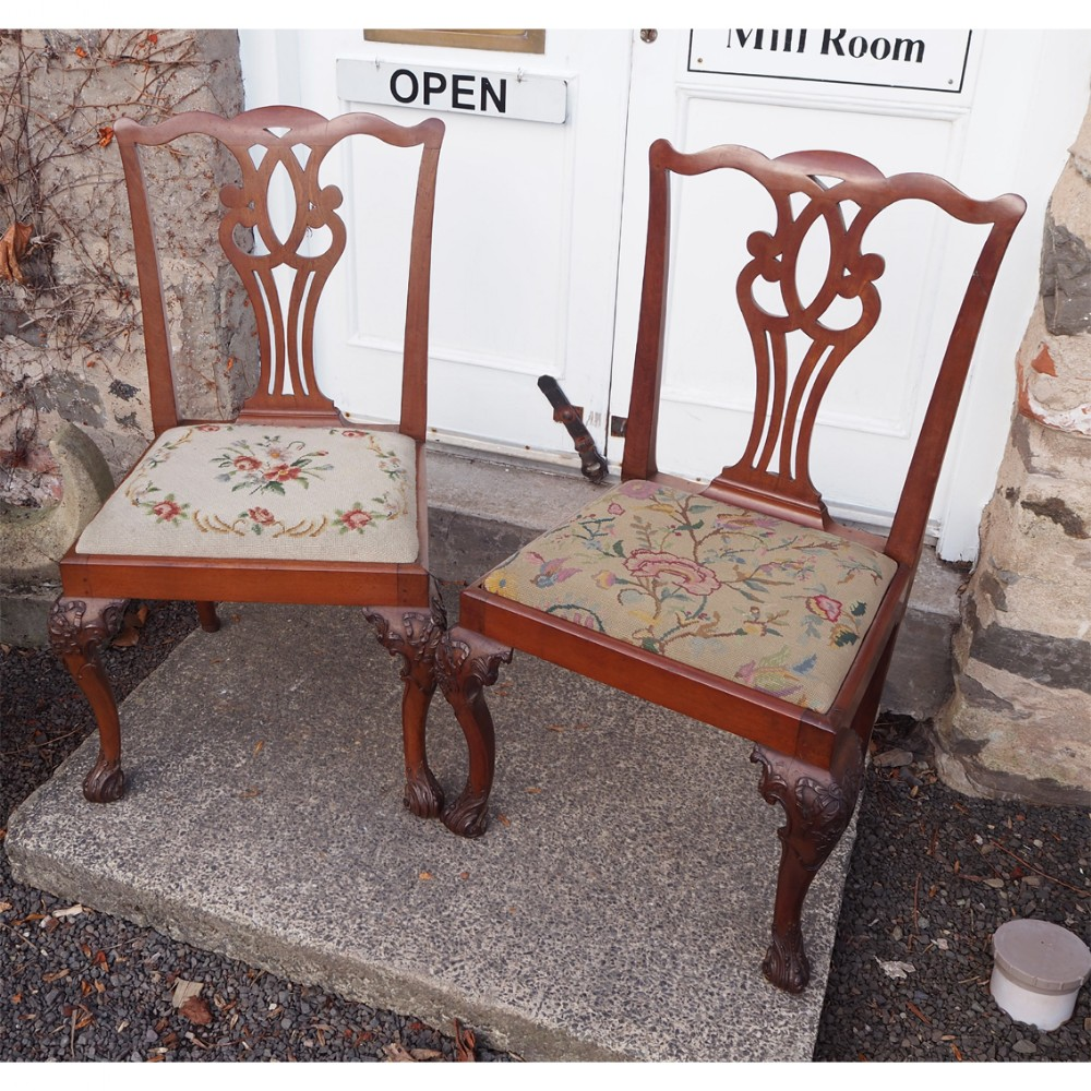 pair 18th century chippendale hand chairs