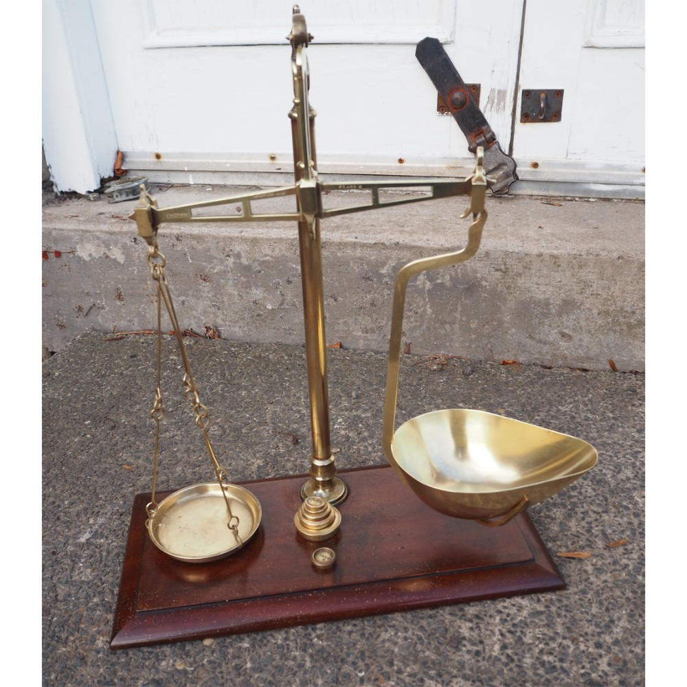 set of scottish brass grocers scales