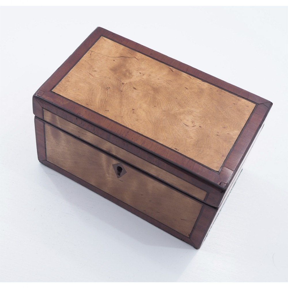 georgian satinwood walnut tea caddy