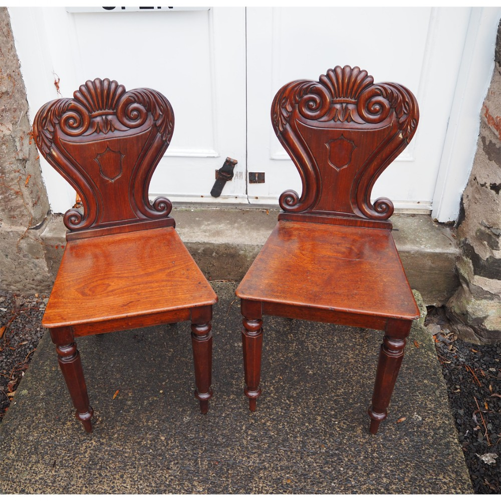 pair of scottish mahogany hall chairs