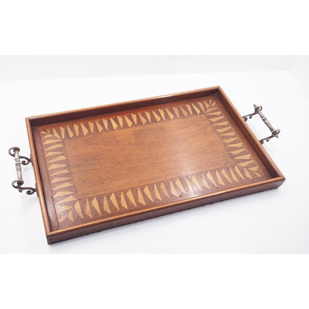 19th century inlaid mahogany tray