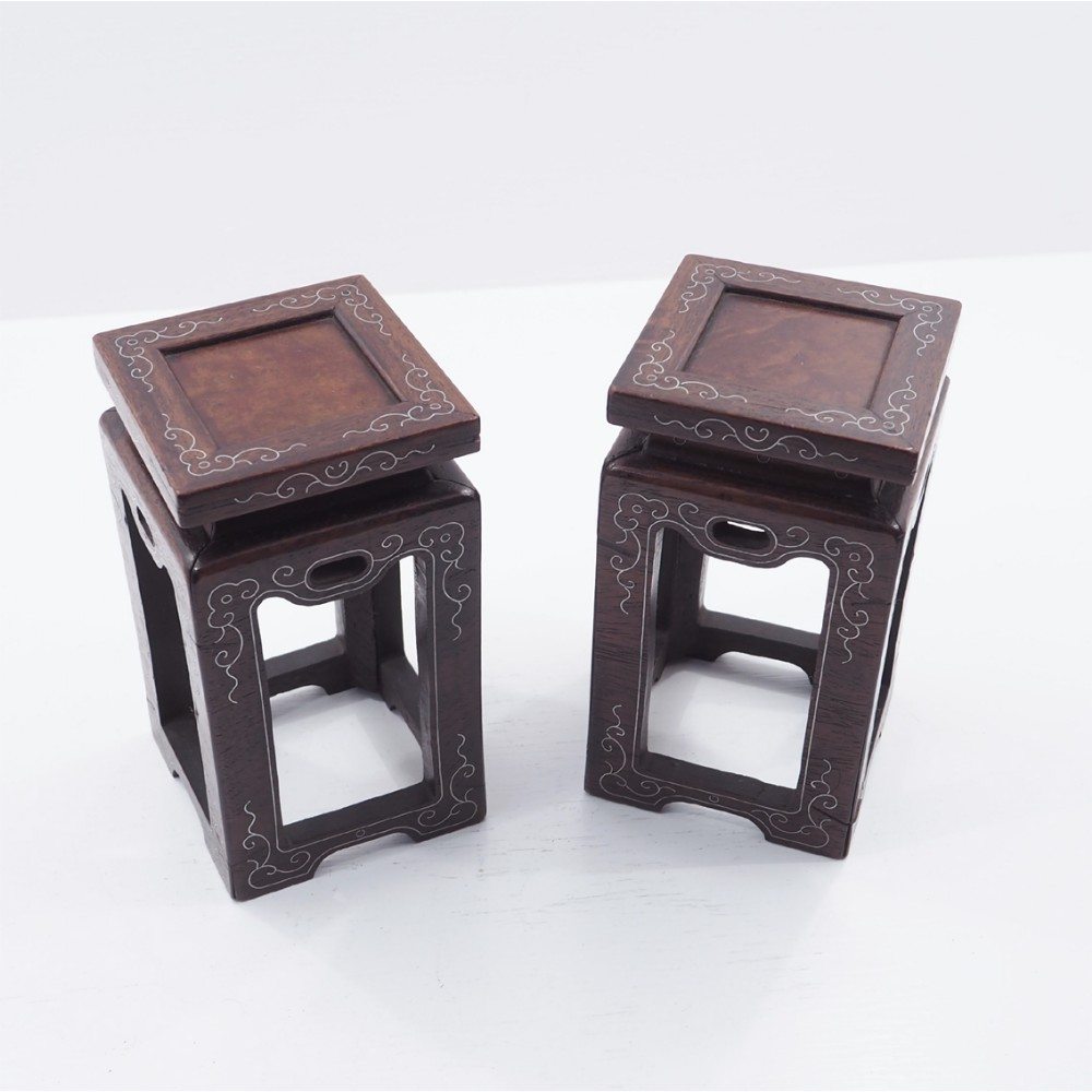 unusual pair of miniature chinese stands