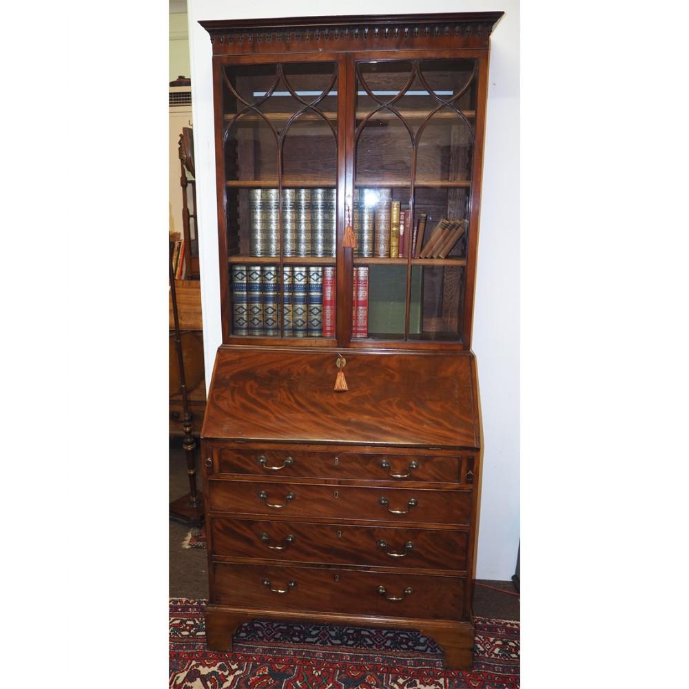 small george iii mahogany bureau bookcase