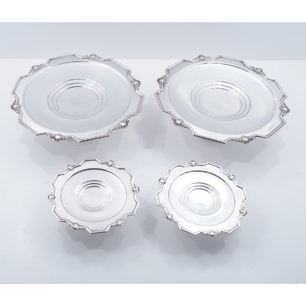 set of 4 silver cake serving dishes