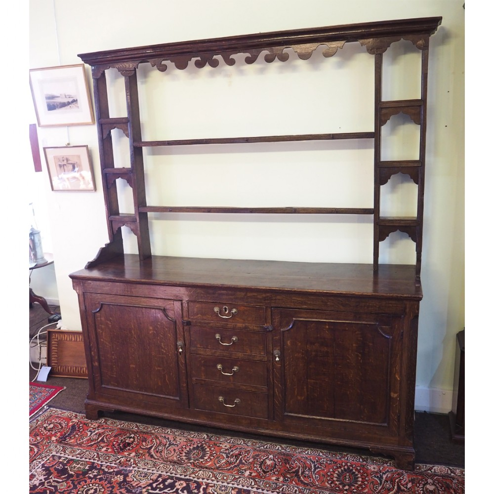 18th century oak dresser and rack