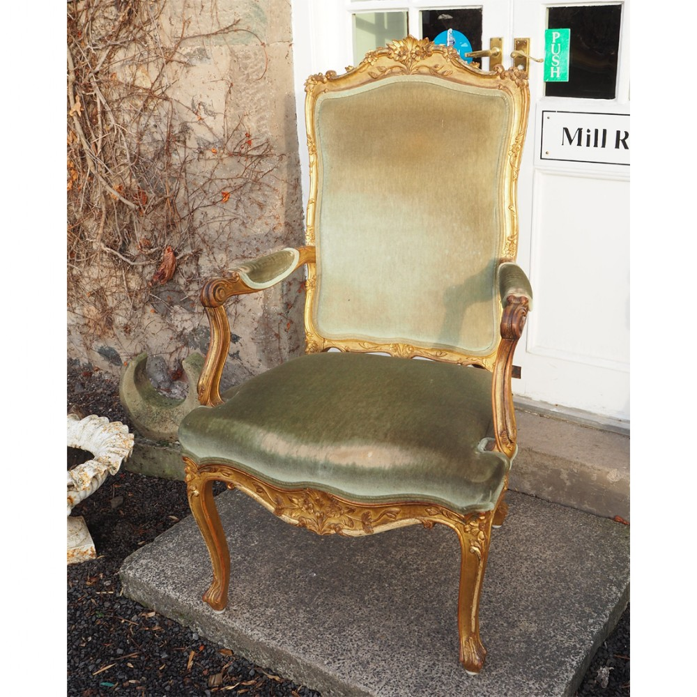 huge french giltwood throne chair c 1880