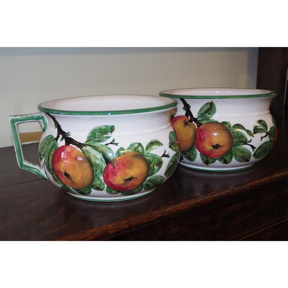 rare pair of scottish wemyss chamber pots