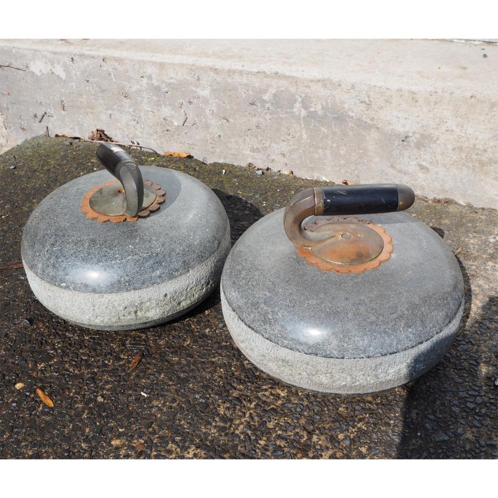 pair 19th century scottish curling stones