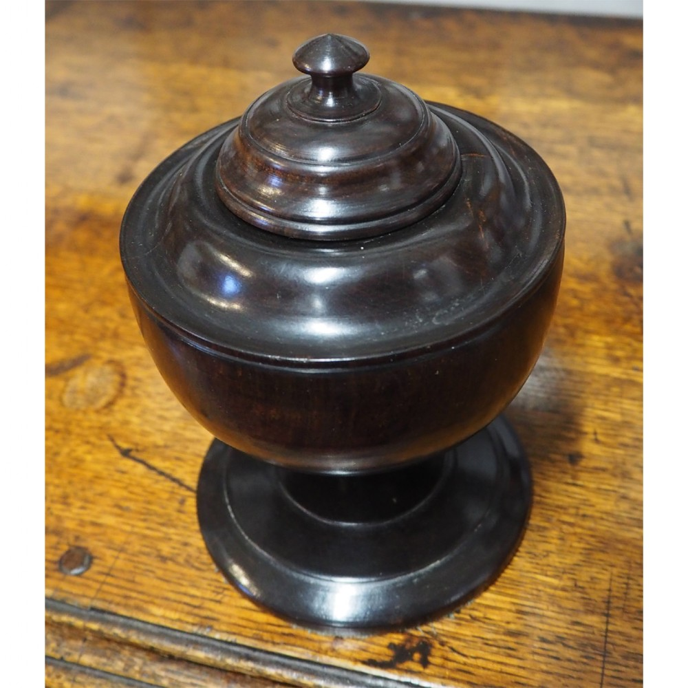 19th century turned ebony lidded urn