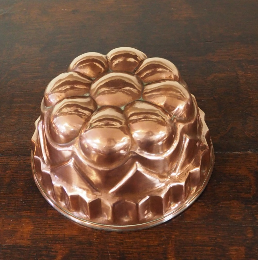 victorian round copper jelly mould