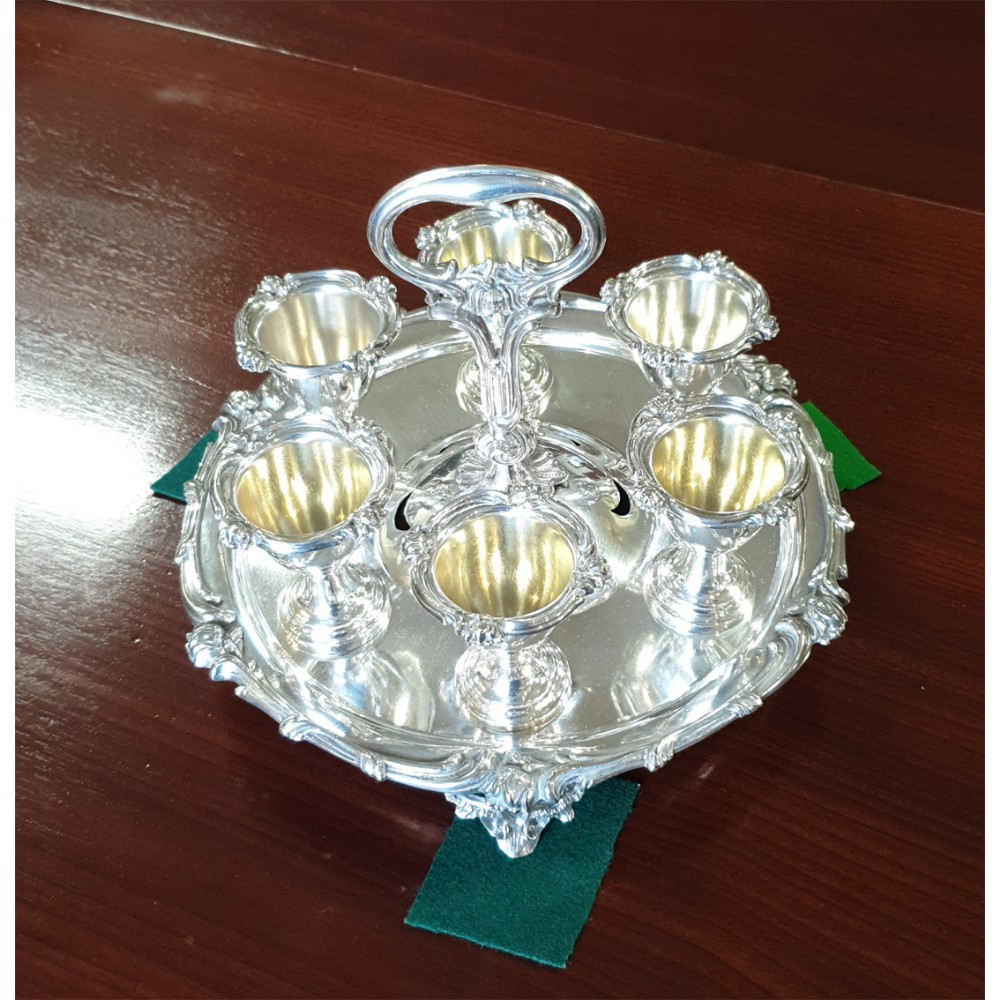 fine elkington silver plated egg cup holder