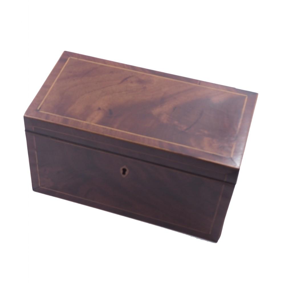 good george 3rd mahogany inlaid tea caddy