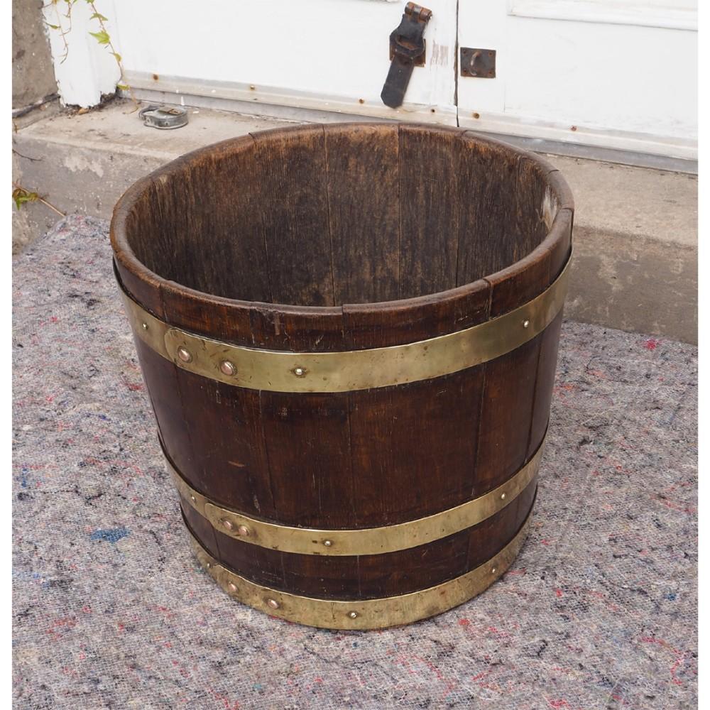 mid victorian brass bound coopered bucket