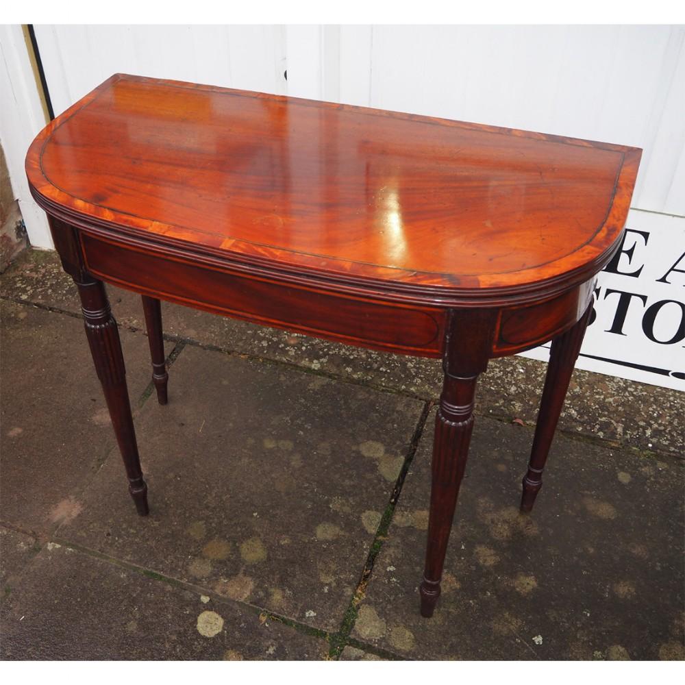 georgian mahogany d shape card table